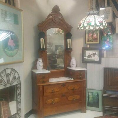 late 1800's tall marble top dresser and mirror