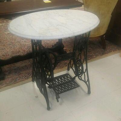 singer sewing machine table base with oval marble
