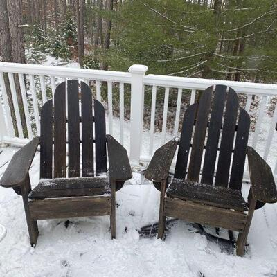 Two Adirondack chairs in great condition.  They look better without the snow!