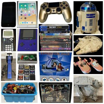 Furniture, Exercise Equipment, Washer Machine, Refrigerators, Patio Furniture, Game Boy Games, Star Wars Figures, Etc.