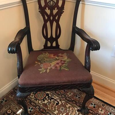 19th century Chippendale style set of 8 dining chairs with needlepoint seats and down back pillows $1200 6 side chairs & 2 armchairs