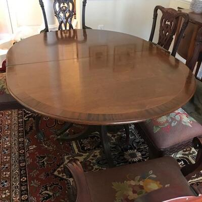 19th century Duncan Phyfe style banquet dining table with 4 leaves, center brace, and storage box for leaves $1200 without leaves 47 1/2...