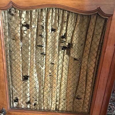 French 19th century cabinet with wire mesh insert and original silk curtain $625  20 3/4 X 11 X 45 1/2