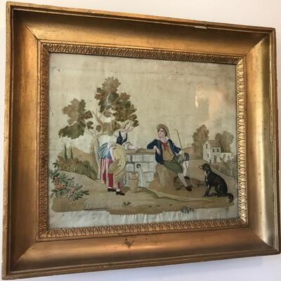 Antique silk embroidery art framed $395 24 X 21 1/2