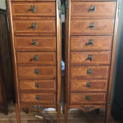 French 19th century semainier [ 7 drawer lingerie chest] $569 each 2 available 16 1/2 X 12 1/2 X 46 1/2