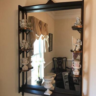 Antique curio shelf  with brass trim and  mirror $195