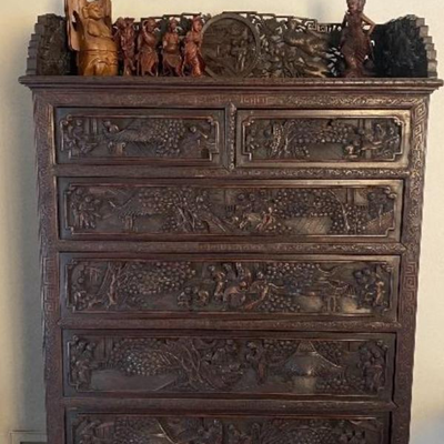 Carved Chinese hi boy chest of drawers