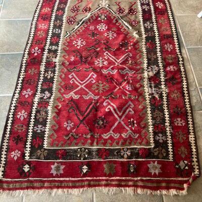 Kilim, flat weave rug. Next 2 photos show damage