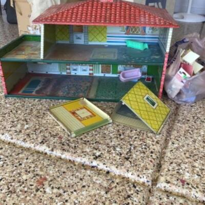 Vintage doll house with furniture