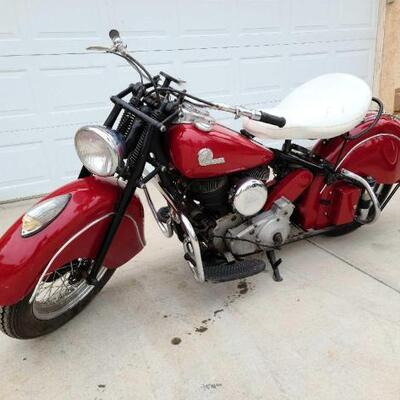 1946 Vintage Indian Motorcycle sells April 11th call for more information 844-824-3669.0 VIN: CDF4255B Plate: GKMC6F Mileage: 90,002...