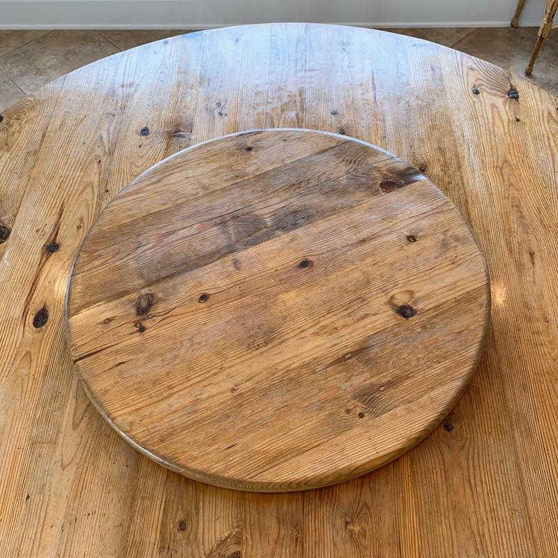 """Round waxed pine custom table (with removable lazy-suzan)  The custom table has a beautiful natural patina, but can easily be relaxed to deepen the color. The table measures 72"""" in diameter."""