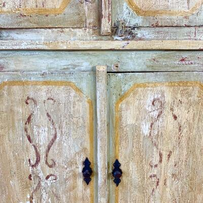 Hand painted distressed 2PC imported cabinet. Bottom piece measures 72