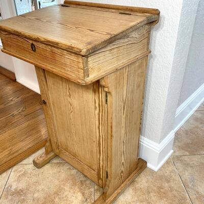 Antique oak teacher's lectern measures 22