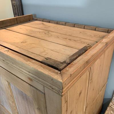 Antique pine cupboard measures 36