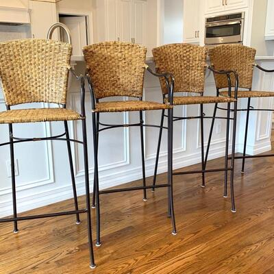 Crate and Barrel metal and wicker bar height stools 4 AVAILABLE