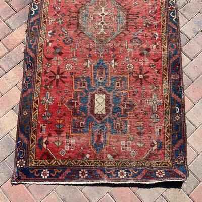 Vintage runner rug measures 36