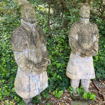 "Replica terracotta warrior statues (77"" tall)"