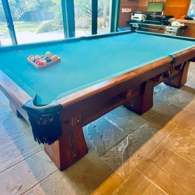 "Antique Brunswick-Balke-Collender Kling Billiards table (122"")"