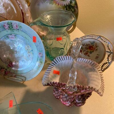 Confetti glass basket and early blown glass pitcher