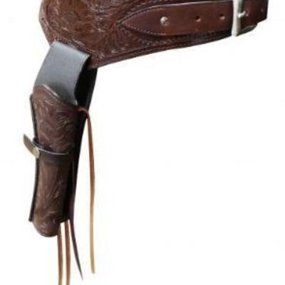 23  New 22 Caliber Medium oil tooled leather Western gun holster and belt. 22 Caliber Medium oil tooled leather Western gun holster and...