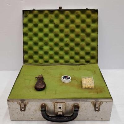 544  Black Powder Flask, Percussion Caps, Metal Lock Box Black Powder Flask, Percussion Caps, Metal Lock Box