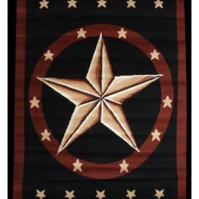 17	  Brand New Large western star area rug. arge western star area rug. This rug features a large western star in center and is accented...