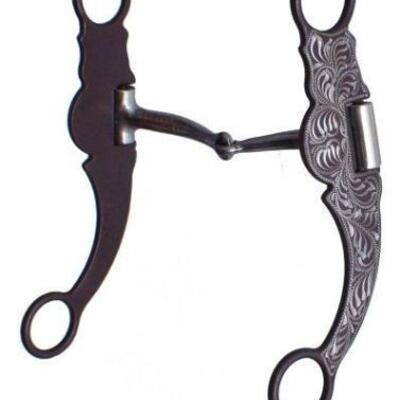 42	  NEW silver accents Snaffle Bit  stainless steel snaffle bit with brown steel cheeks. Features a 5 1/2