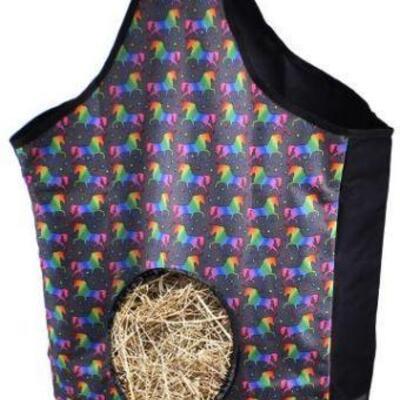 9  New Unicorn Print Nylon Hay Bag Unicorn printed heavy denier nylon hay bag with mesh bottom. This heavy denier nylon hay bag features...