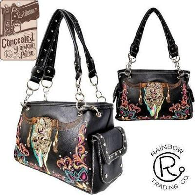 30	  NEW Concealed Carry Skull Handbag Black PU leather handbag with embroidered ornate steer head. Accented with turquoise, pink,...