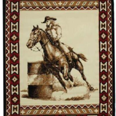 18	  Brand New Large Barrel Racer Area Rug. Large Barrel Racer Area Rug. This rug features barrel racer logo in center and is accented...