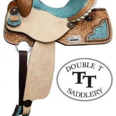 51	  NEW 14 Inch Double T Barrel Style Saddle with Filigree Print Seat. Double T Barrel Style Saddle with Filigree Print Seat. This...