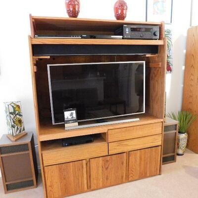 Wall unit with Samsung Smart Tv and Vizio Sound bar