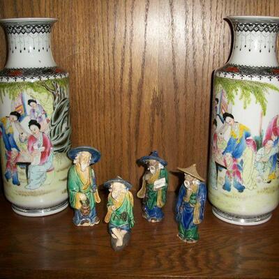 Chinese Mudmen figurines & asian vases