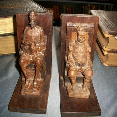 Don Quixote & Sancho Carved Wooden Bookends