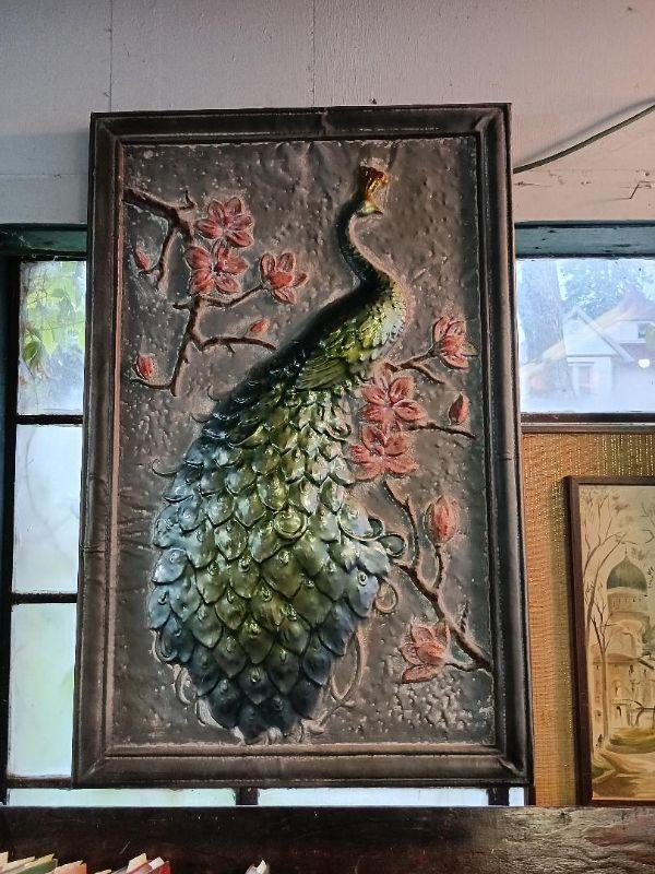 Large Hanging Metal Picture of a Peacock and Flowers