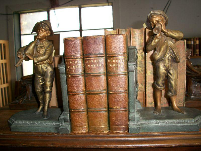 1801 3 Volume Set Leather Burns's Works & Boy Musician Bookends