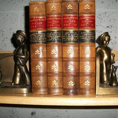 1869 Four volume leather Shakespeare Clarke