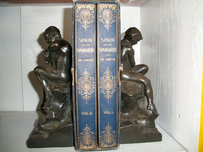 1895 2 Volume Set  - Spain and the Spainiards and Pompeian Bronze Bookends