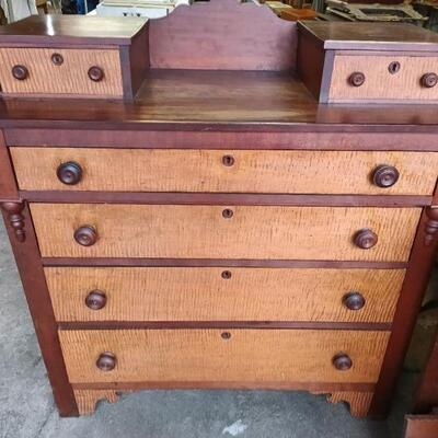 Cherry and Tiger Maple Chest of Drawers