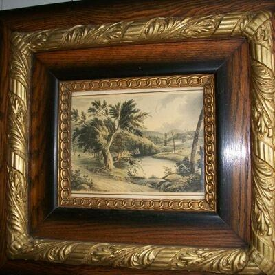 Pair Matching Antique Frames with antique print