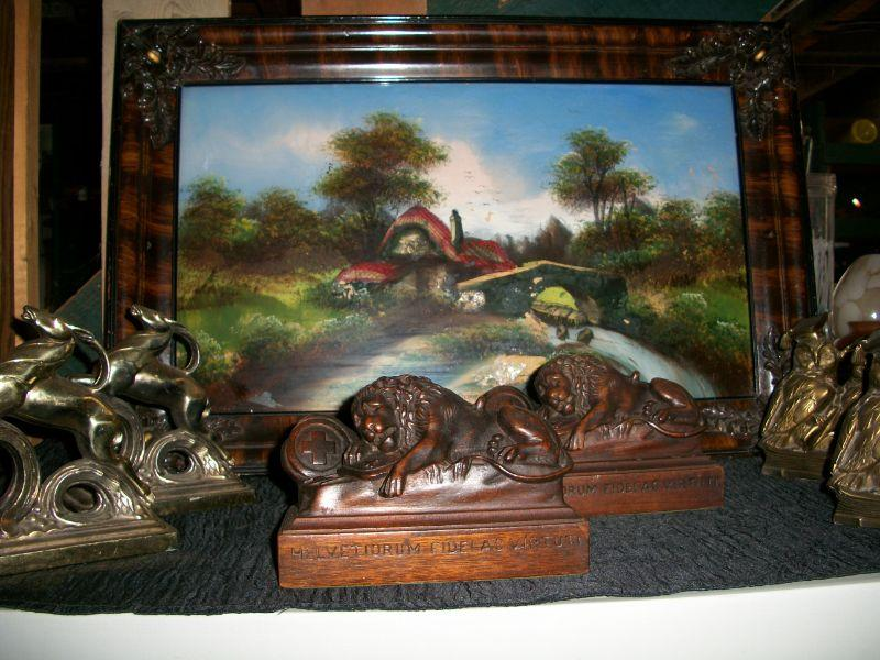 Reverse glass painted scene & bookends