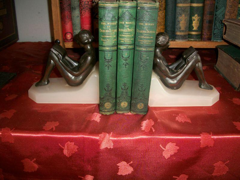 1872 3 Volumes Dickens Christmas Stories & Deco Nudes Bookends