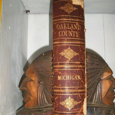 1891 Oakland County (History of) and Deco Indianhead Bookends