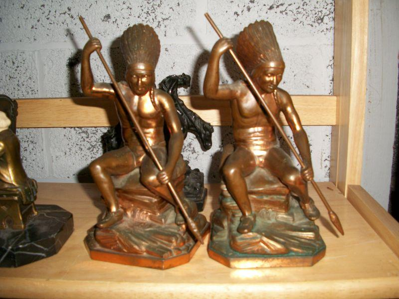 Jennings Brothers Indian with Spear Bookends