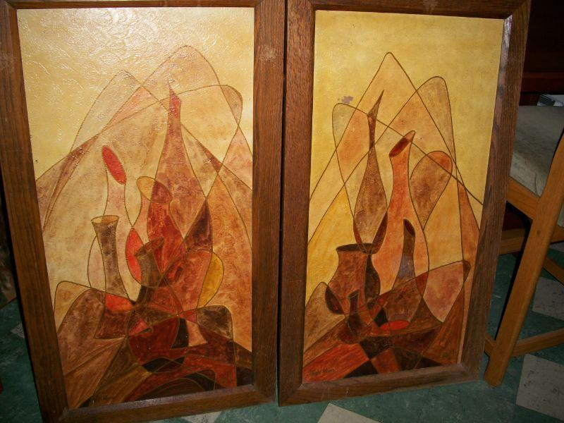 Pair of Large Mid Century Modern Pictures