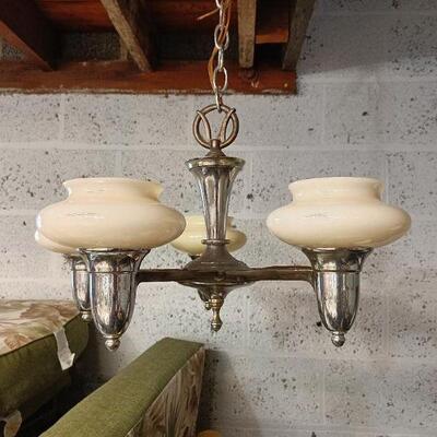 Antique Custard Shade Hanging Chandelier
