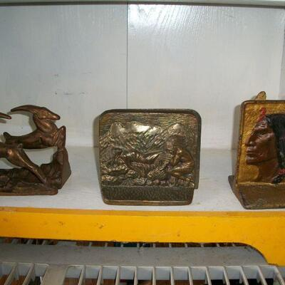 Various antique bookends