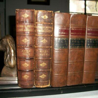 Encyclopedia Brittanica - 1st Edition Facsimile & 1872 Child's History of US 2 Vol Leather