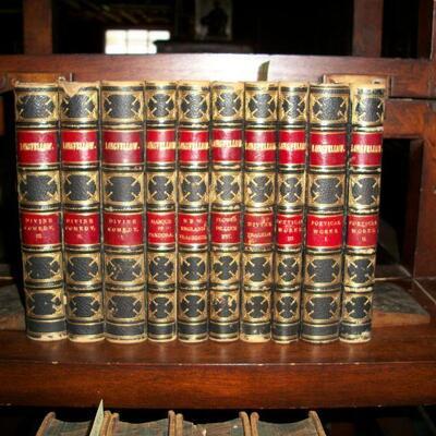 1856 Leather  10 Volume set Longfellow's Works