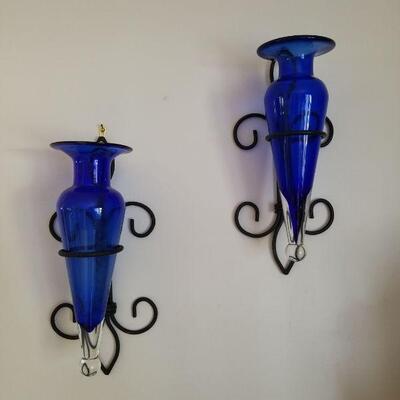 Set of 2 blue glass sconces